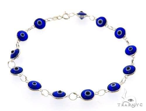 Silver CZ  Evil Eye Bracelet 43246 Silver & Stainless Steel