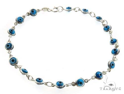 Silver CZ  Evil Eye Bracelet 43249 Silver & Stainless Steel