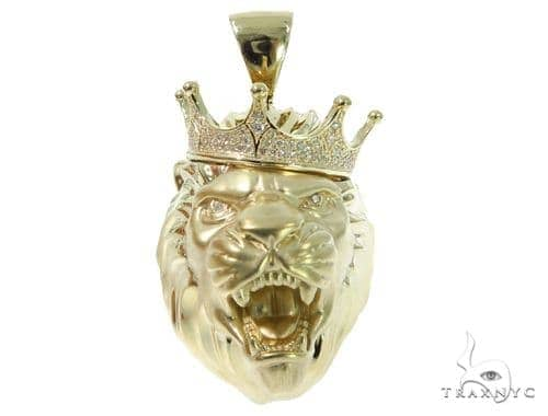 Crown Lion Head Diamond Pendant 49161 Metal