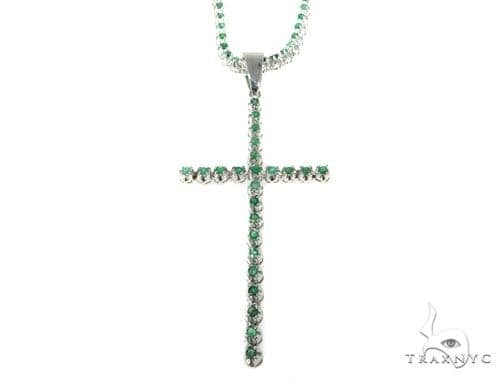 Emerald Silver Cross Crucifix Chain Set 49160 Silver