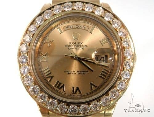 Pave Diamond Rolex Oyster Perpetual Day-Date Watch 49178 Diamond Rolex Watch Collection