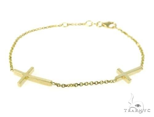 18k Yellow Gold Cross Crucifix Bracelet 49004 Gold