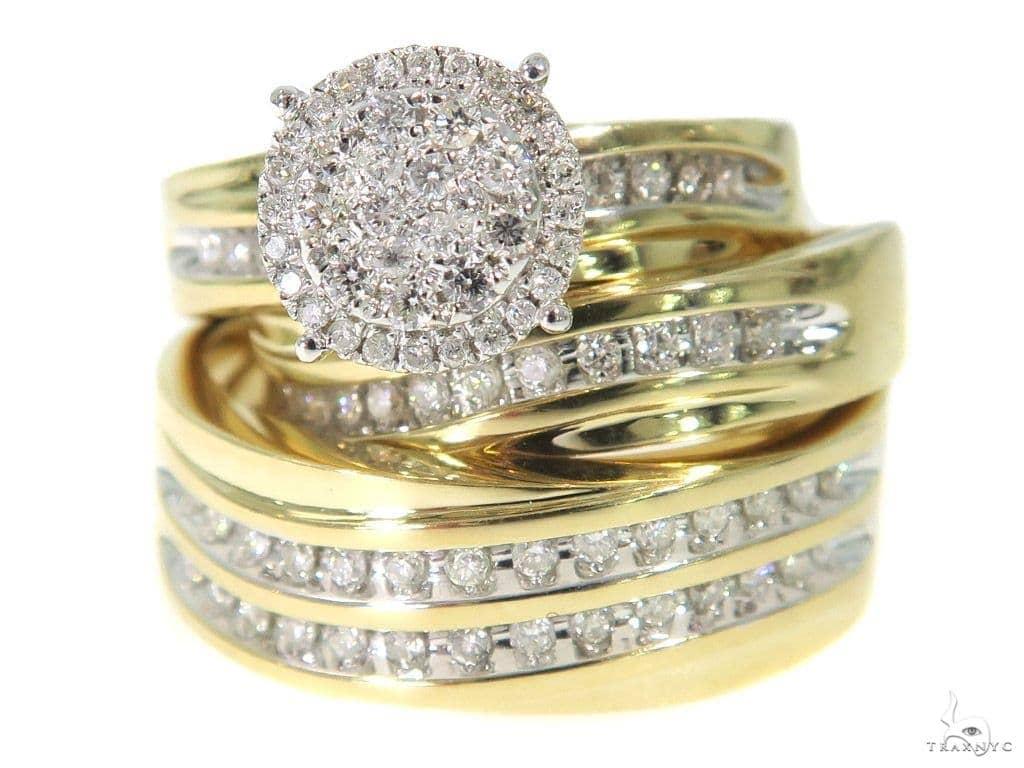 Prong Diamond Engagement Couple Ring Set 44042 Engagement