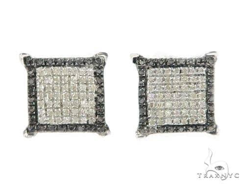 Prong Diamond Silver Earrings 49360 Metal