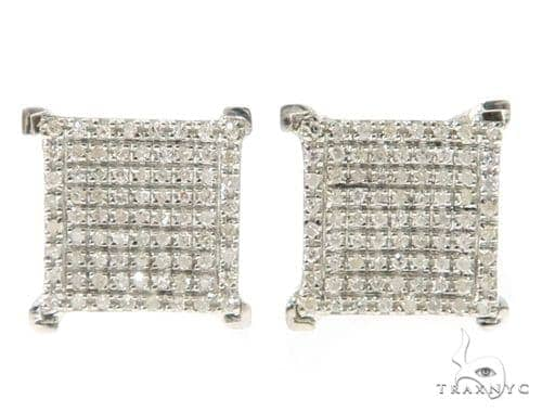 Prong Diamond Silver Earrings 49362 Metal