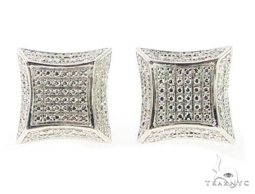 Prong Diamond Silver Earrings 49366 Metal