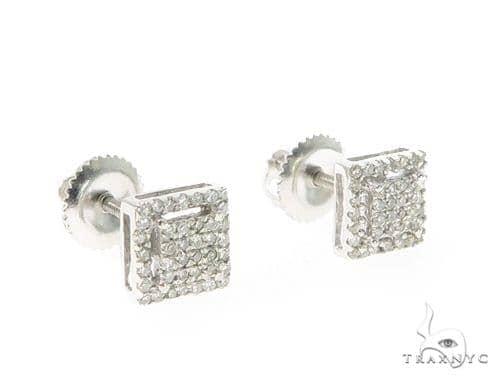 Prong Diamond Silver Earrings 49367 Metal