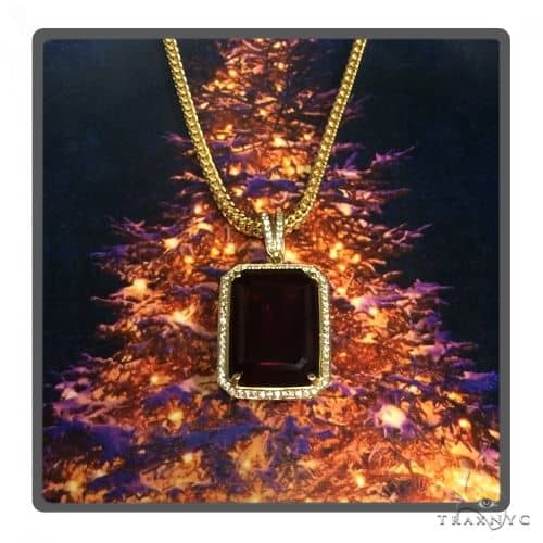 Hot Dark Red Tresaure Gold Pendant and Franco Chain Set 49582 Metal