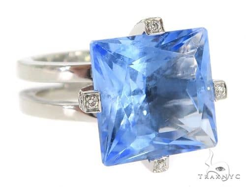 Blue Aquamarine Diamond Ring 49629 Anniversary/Fashion