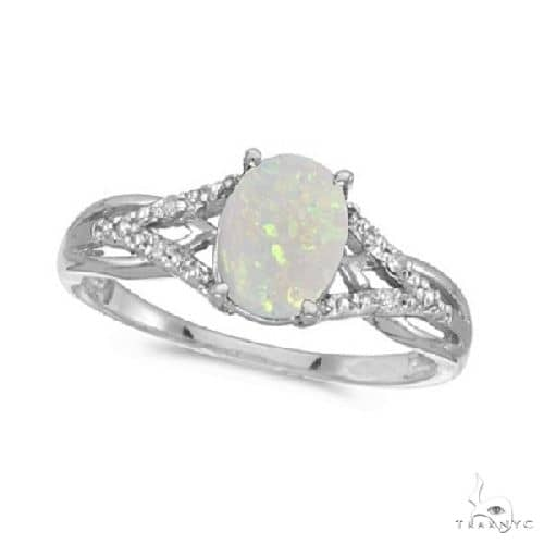 Oval Opal and Diamond Cocktail Ring 14K White Gold Anniversary/Fashion