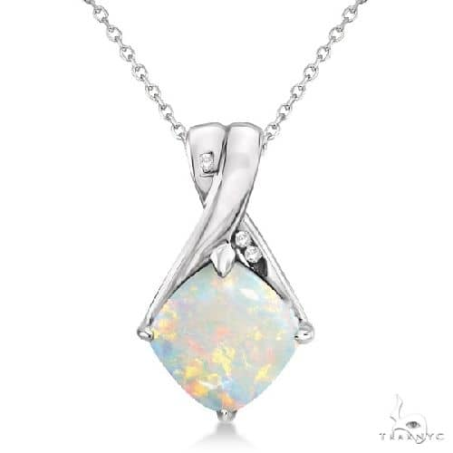 Diamond and Cushion Opal Pendant Necklace 14k White Gold Stone