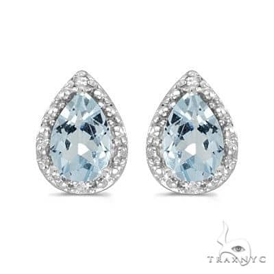 Pear Aquamarine and Diamond Stud Earrings 14k White Gold Stone