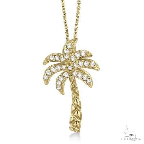 Palm Tree Shaped Diamond Pendant Necklace 14k Yellow Gold Stone