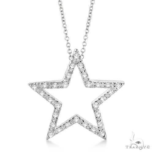 Star Shaped Diamond Pendant Necklace 14k White Gold Stone