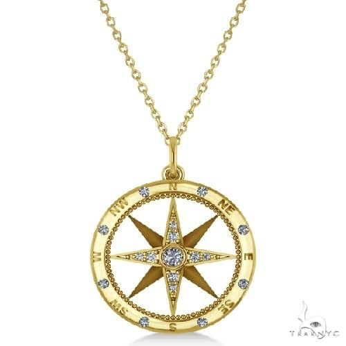 Compass Necklace Pendant Diamond Accented 14k Yellow Gold Stone