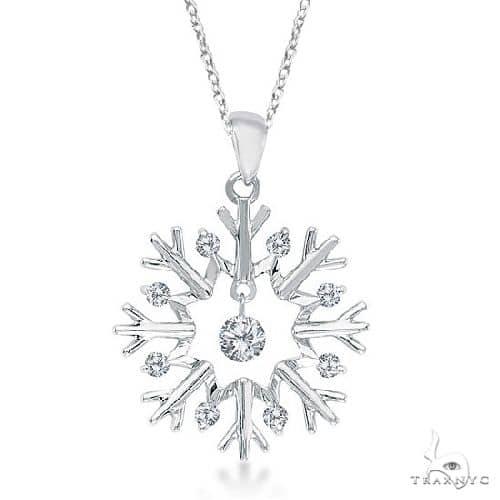 Snowflake Shaped Diamond Pendant Necklace 14k White Gold Stone