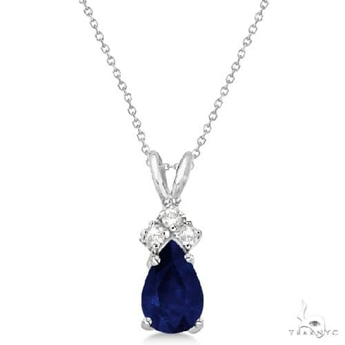 Pear Sapphire and Diamond Solitaire Pendant 14k White Gold Stone