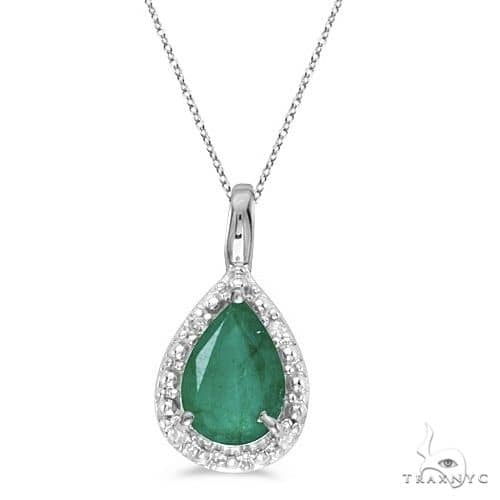 Pear Shaped Emerald Pendant Necklace 14k White Gold Stone