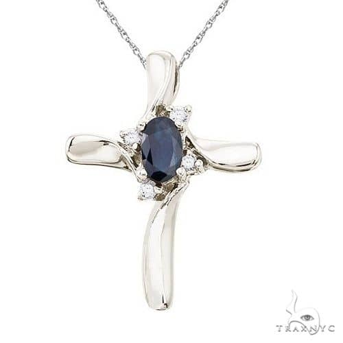 Blue Sapphire and Diamond Cross Necklace Pendant 14k White Gold Stone