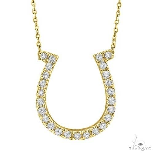 Diamond Horseshoe Pendant Necklace 14k Yellow Gold Stone