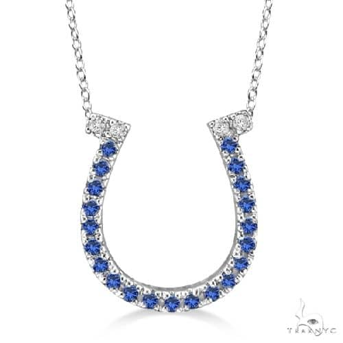 Sapphire and Diamond Horseshoe Pendant Necklace 14k White Gold (0.25ct) Stone