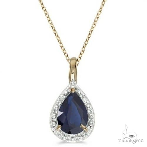Pear Shaped Blue Sapphire Pendant Necklace 14k Yellow Gold Stone