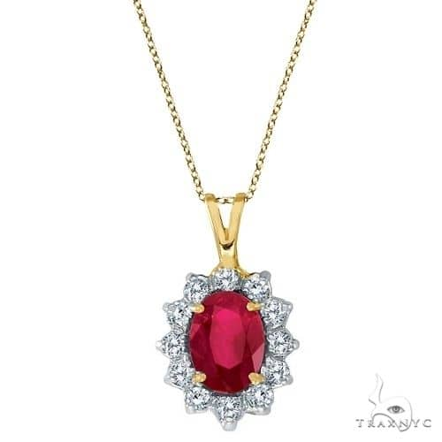Ruby and Diamond Accented Pendant Necklace 14k Yellow Gold Stone