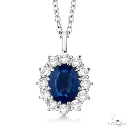 Oval Blue Sapphire and Diamond Pendant Necklace 14k White Gold Stone
