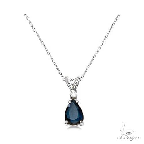 Pear Blue Sapphire and Diamond Solitaire Pendant Necklace 14k White Gold Stone