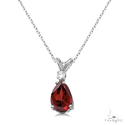 Pear Garnet and Diamond Solitaire Pendant Necklace 14k White Gold Stone