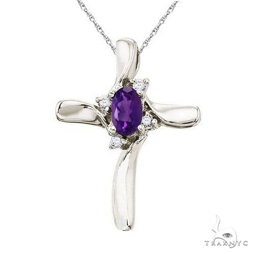 Amethyst and Diamond Cross Necklace Pendant 14k White Gold Stone