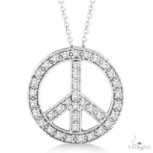 Diamond Peace Sign Pendant Necklace 14k White Gold Stone