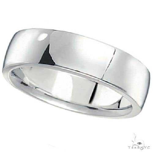 Mens Wedding Ring Low Dome Comfort-Fit in 14k White Gold (6mm) Metal