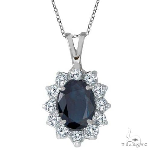 Blue Sapphire and Diamond Accented Pendant 14k White Gold Stone