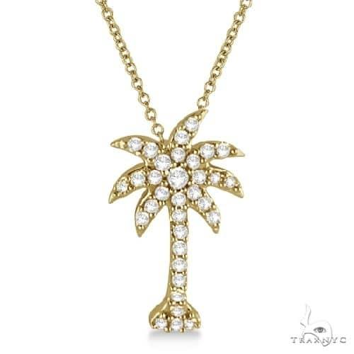 Palm Tree Shaped Diamond Pendant Necklace 14k Yellow Gold (1/4ct) Stone