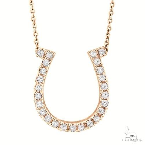 Diamond Horseshoe Pendant Necklace 14k Rose Gold Stone