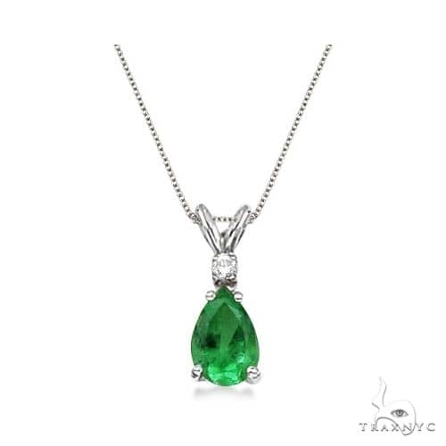 Pear Emerald and Diamond Solitaire Pendant Necklace 14k White Gold Stone