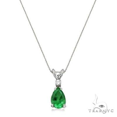 Pear Emerald and Diamond Solitaire Pendant Necklace 14k White Gold Stone
