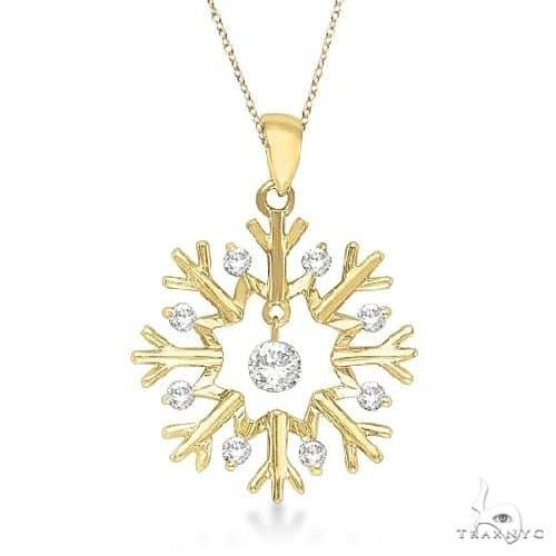 Snowflake Shaped Diamond Pendant Necklace 14k Yellow Gold Stone