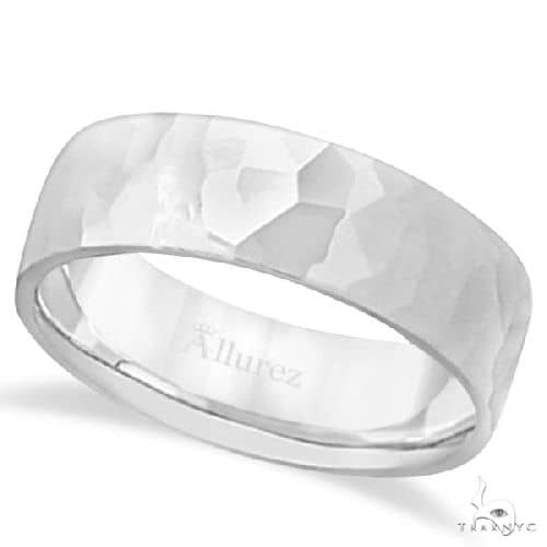 Mens Hammered Finished Carved Band Wedding Ring 14k White Gold (7mm) Metal