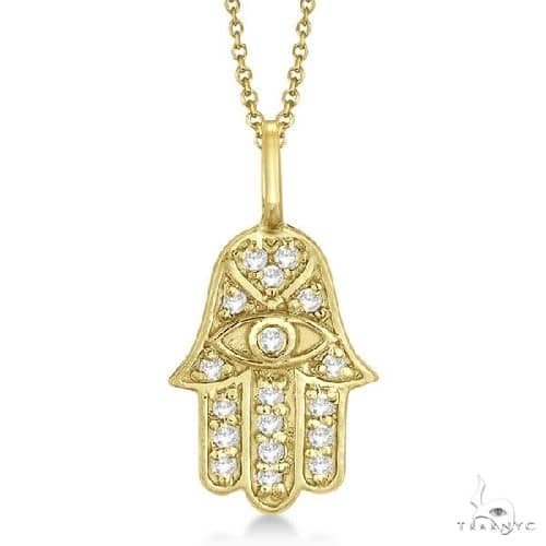 Diamond Hamsa Pendant Necklace 14k Yellow Gold Stone