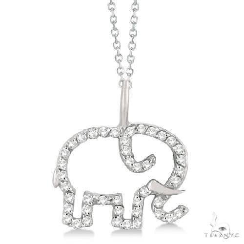 Elephant Diamond Necklace Pave-Set 14K White Gold Stone