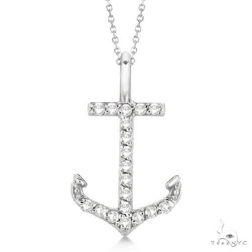 Anchor Diamond Pendant Necklace 14K White Gold Stone