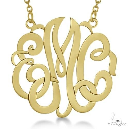 Personalized Monogram Pendant Necklace in 14k Yellow Gold Metal