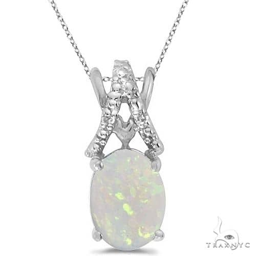 Opal and Diamond Solitaire Pendant 14k White Gold Stone