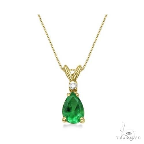Pear Emerald and Diamond Solitaire Pendant Necklace 14k Yellow Gold Stone