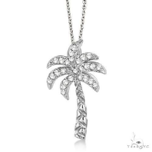 Palm Tree Shaped Diamond Pendant Necklace 14k White Gold Stone
