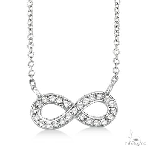 Pave-Set Diamond Infinity Pendant Necklace 14K White Gold Stone
