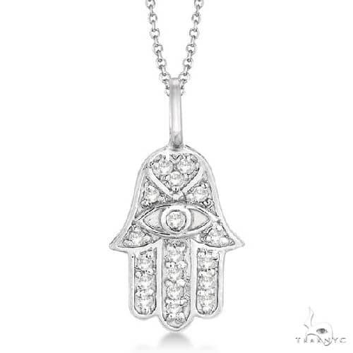 Diamond Hamsa Pendant Necklace 14k White Gold Stone