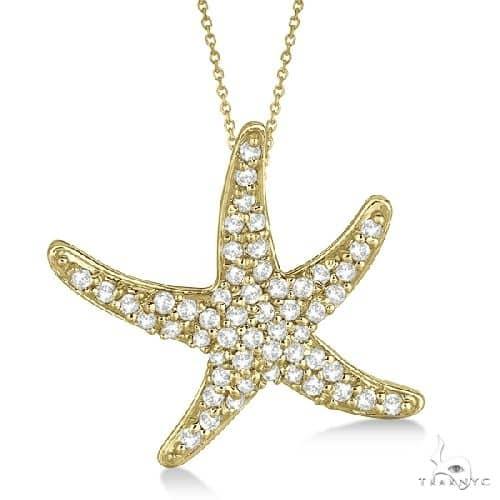Diamond Starfish Pendant Necklace 14k Yellow Gold Stone